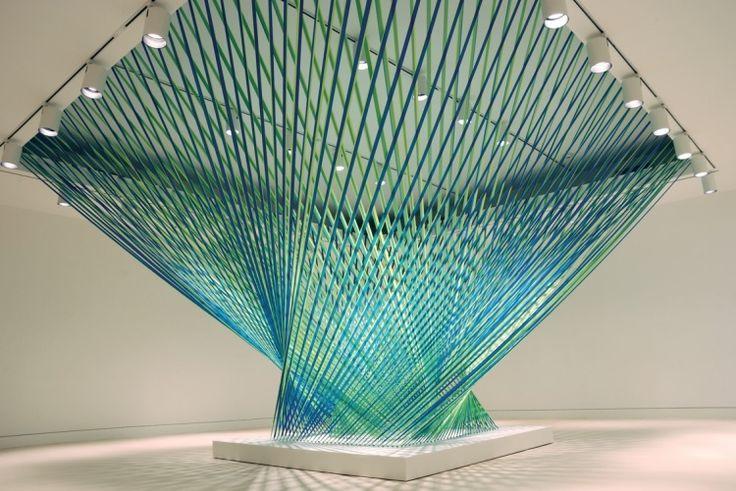 Ribboning- Megan Geckler: Art Museum, Art Crafts, Tape Art, Ribbons Art, Artists Megan, Flags Tape, Art Installations, Megan Geckler, Blue Art