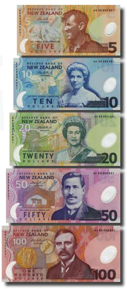 NZ currency - top to bottom: Sir Edmund Hillary (first man to climb Mt. Everest 1953), Kate Sheppard (NZ women's rights activist 1893), Queen Elizabeth II (Queen of British Commonwealth Realms 1952-present), Apirana Ngata (NZ politician 1905-1943), Ernest Rutherford (NZ nuclear physicist, Nobel prize in Chemistry 1908)