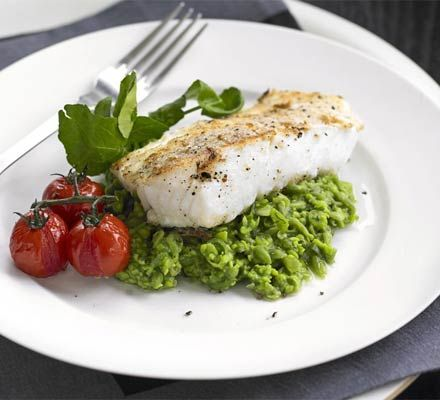 Seared pollack with pea & watercress purée