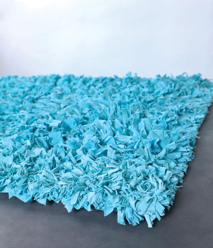 Premium Jersey Cotton Shag Rug 30 X 50 AQUA Recycled T Shirts Ecofriendly