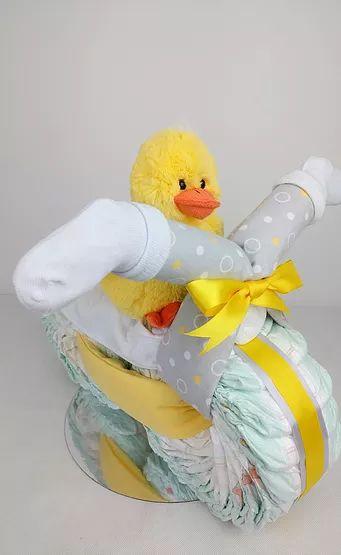 Duck Nappy Motorbike Nappy Cake - Neutral Nappy Cake, Yellow and Grey, Duck, Nappy Cakes by Emma, Australia, Brisbane, Diaper Cake
