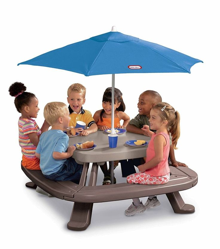 Kids' Picnic Table Kit Outdoor Bench Set Play Children Umbrella Plastic New  #Step2