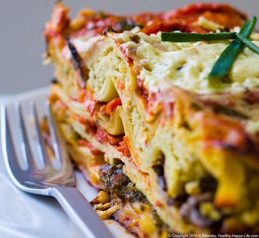 Greenmarket Vegetable Lasagna with Ricotta Nut Cheese and Marinated Tofu. This family-favorite vegan entree features a rich cascade of layers that will wow you with each bite. Flavors like: creamy chive ricotta nut cheese, zesty garlic-marinated greens, tender tofu, savory mushrooms, sweet tomatoes and more.