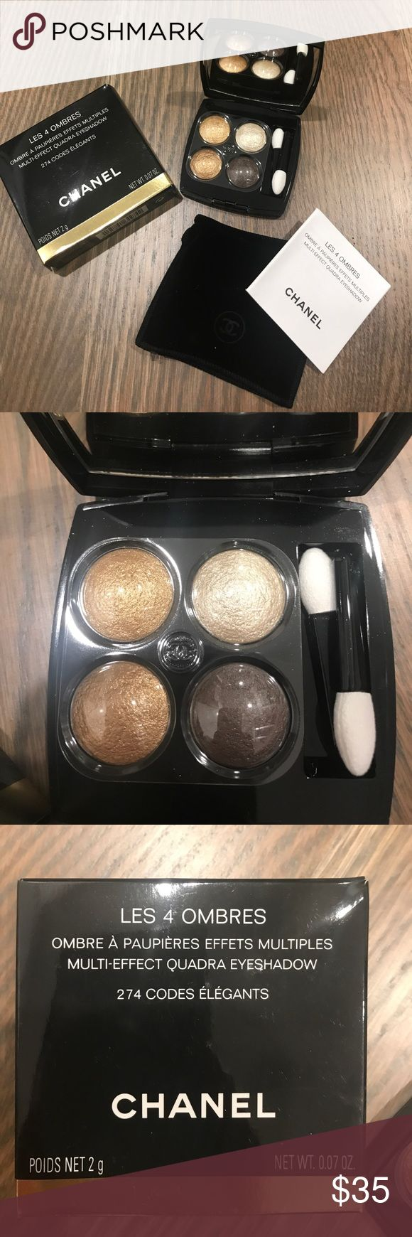 Chanel Les Ombres 4 Eyeshadow Palette - NEW! Four gorgeous metallic neutrals in mirrored compact. This comes new in box with velvet pouch, never used. CHANEL Makeup Eyeshadow