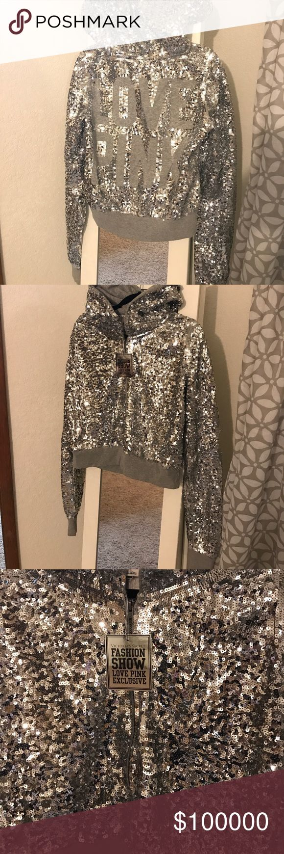 Pink Sequin Hoodie Perfect condition pink sequin hoodie, VS Fashion show exclusive, Size Large, Show stopper hoodie so cute and sparkly PINK Victoria's Secret Tops Sweatshirts & Hoodies