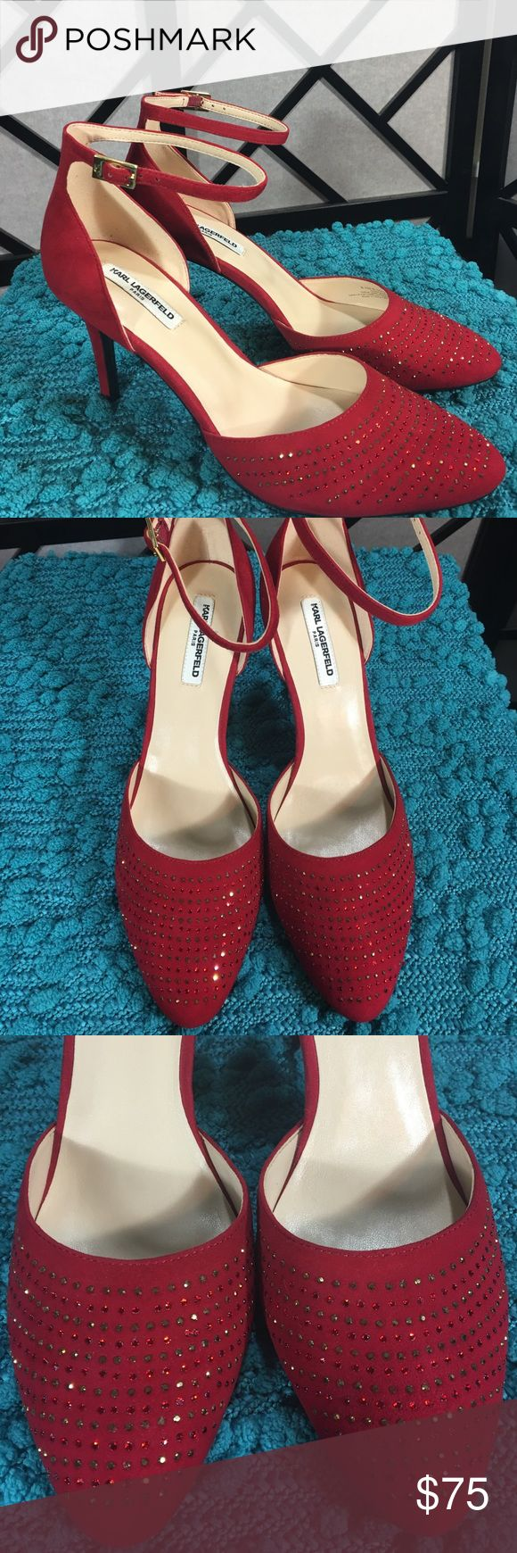 Karl Lagerfeld Red Suede Heels 👠 Ankle Straps New Stunning red suede heels with embellishments that are sparkly! 3.5 inch heels! Karl Lagerfeld Shoes Heels