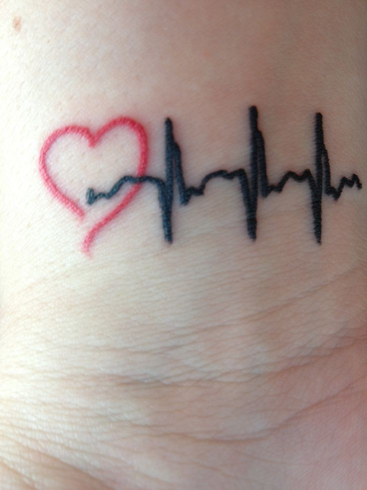My wrist tattoo. My son was born with a Heart defect which led to open heart surgery at the age of 2. This is his heart beat from his first electrocardiogram. He is my hero!