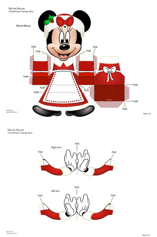 789 minnie disney paper toy template Boîte cadeau Minnie