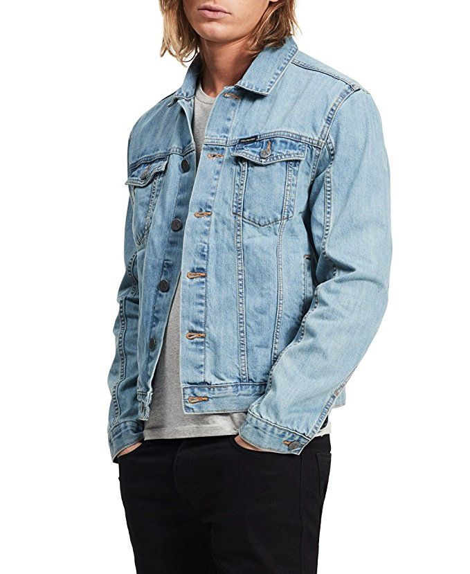 Calvin Klein Mens Denim Trucker Jacket Light Wash Medium