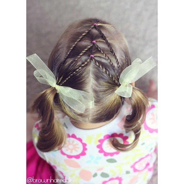 """""""Fun style for little sis today. Elastics, into rope twists, into piggies!!! • inspired by Cami @toddlerhairideas • #30DaysNewBraids #featuremejehat"""" Photo taken by @brownhairedbliss on Instagram, pinned via the InstaPin iOS App! http://www.instapinapp.com (06/03/2015)"""