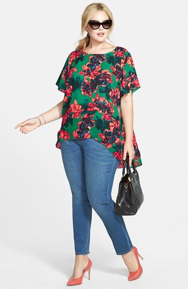 Vince Camuto High/Low Blouse & Two by Vince Camuto Skinny Jeans (Plus Size) | Nordstrom