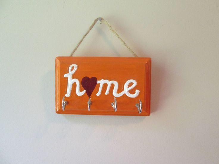 "Key hanger for wall, ""home"" key holder for wall, Virginia Tech Hokies home decor by PovyArt on Etsy"