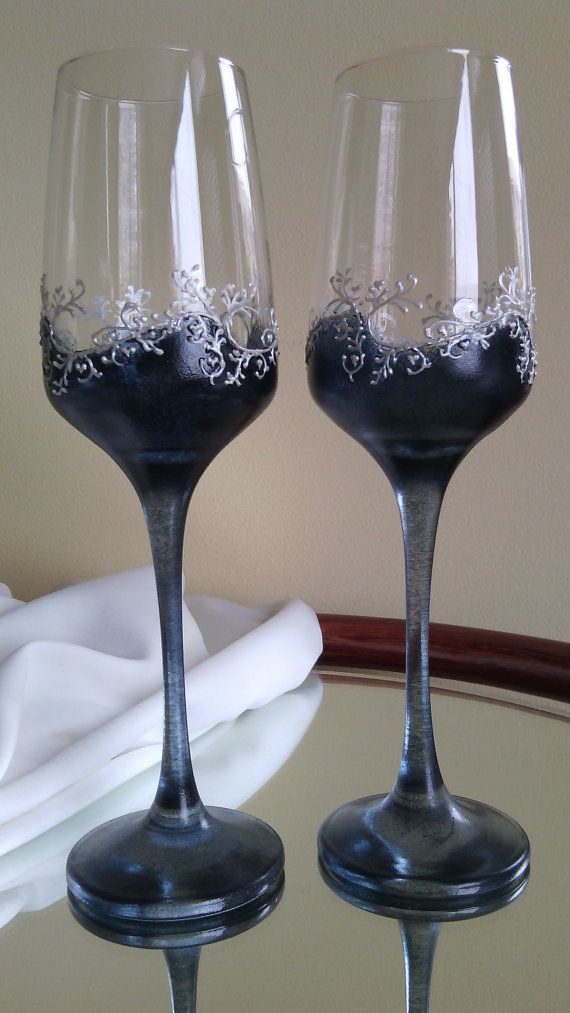 Set of 2 hand painted wedding champagne flutes Classic Black and white