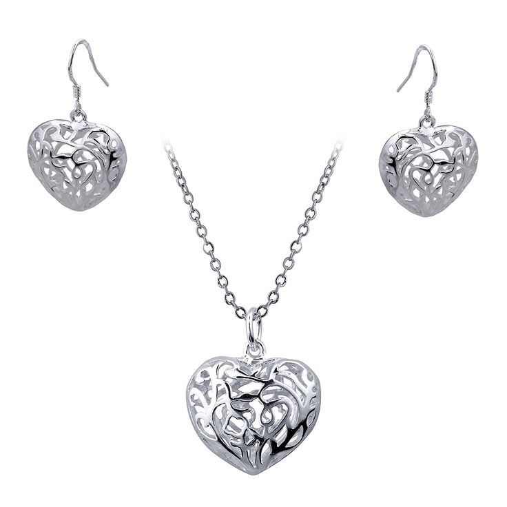 Style Target Ladies 'Jewellery Set Necklace Earrings Small Filigree Heart Pendant 925 Silver Plated 46 cm Long 1632 * Find out more at the image link. #JewellerySets