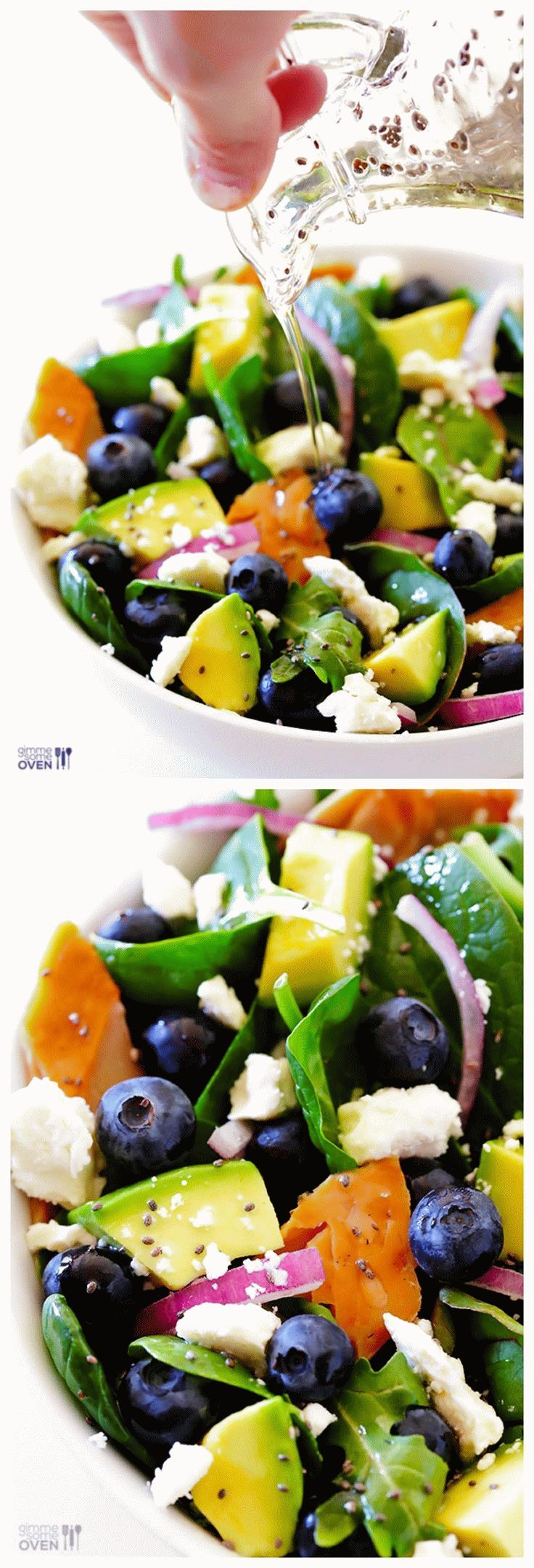 Spinach Salad with Salmon, Avocado and Blueberries