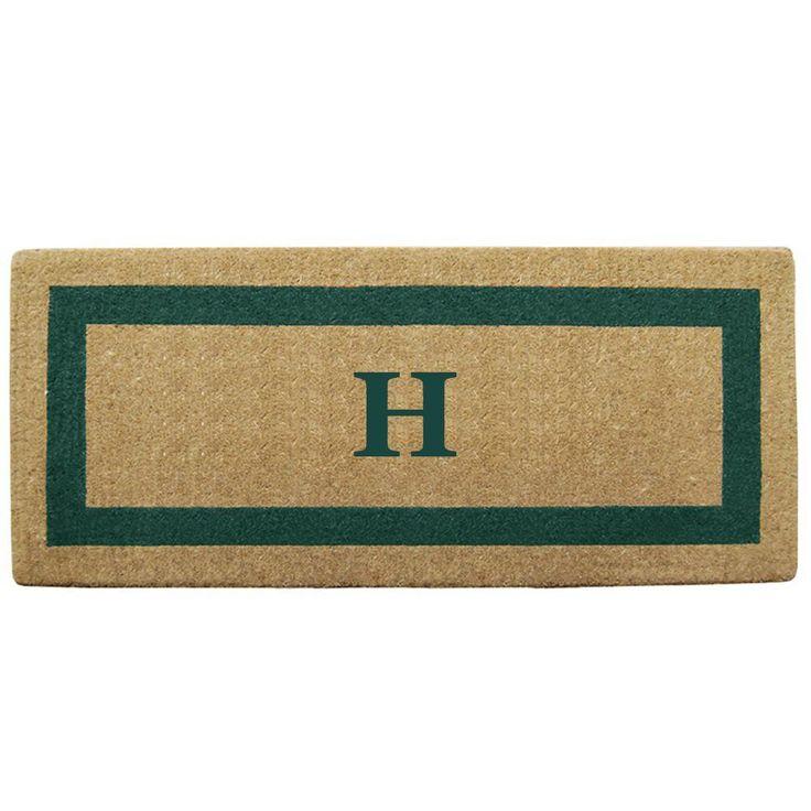 Single Picture Frame Green 24 in. x 57 in. Heavy Duty Coir Monogrammed H Door Mat, Green/Brush