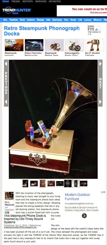 #Steampunk iPhonograph 'Chrome' is featured on @TrendHunter.com in April 2014 - a CRAVE-worthy piece.