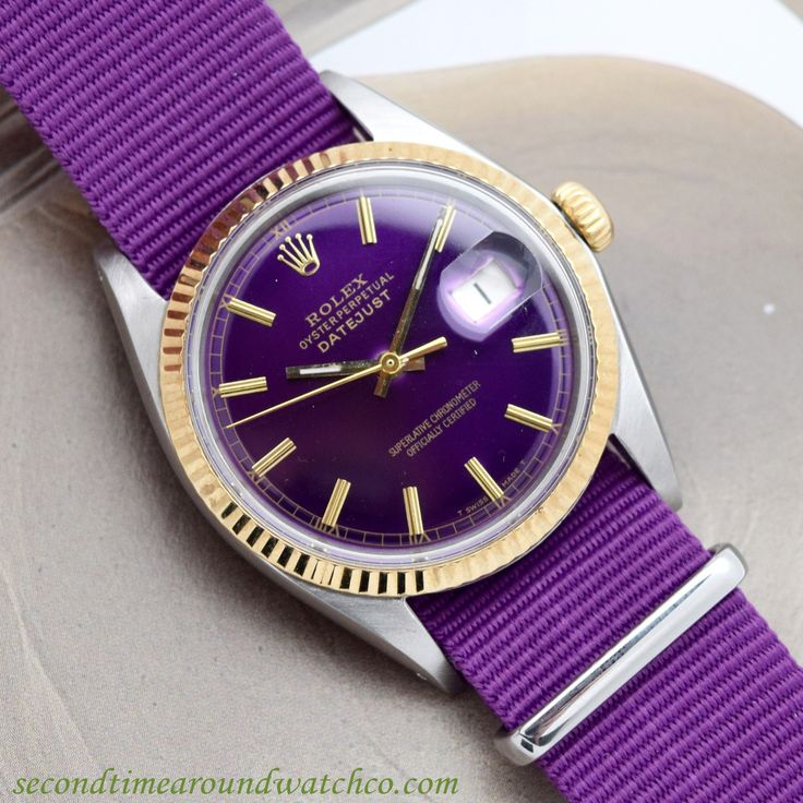 Smooth! A 1968 Vintage Rolex Datejust Ref. 1601 Two-tone timepiece. This example features a 14k yellow gold, fluted bezel, a refinished, custom purple dial with applied, yellow gold baton markers and a 26-jewel automatic caliber 1570 movement. (Store Inventory # 10353, listed at $3500, available for purchase online and in store.)  #rolex #purple #dial #custom #color #twotone #calendar #datejust #fluted #gold #bezel #watches #classic #watch #cool #timepiece #wristwatches #stawc