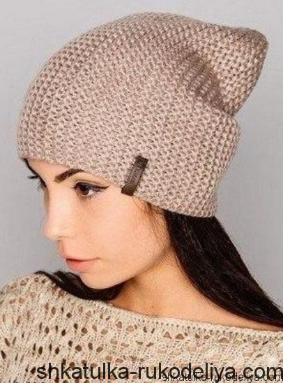 модная шапка спицами мастер класс вязание шапок спицами схемы
