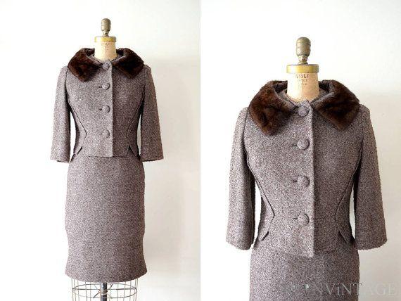Vintage 1960s Dress 60s Mink Fur Collar Wool Women S