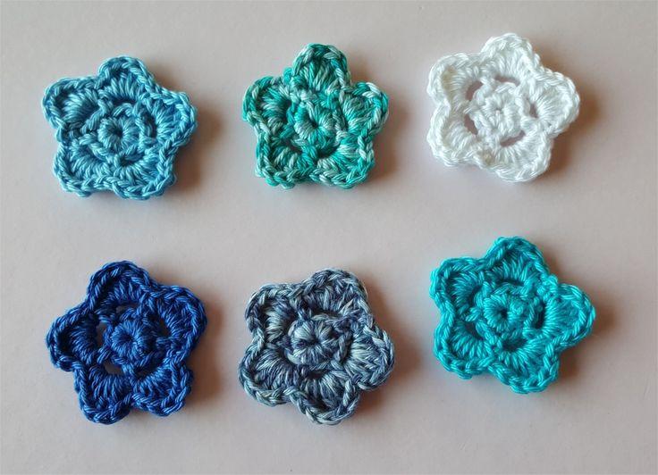 Lot de 6 appliques fleurs au crochet : Autres pièces pour créations par atelier-crochet