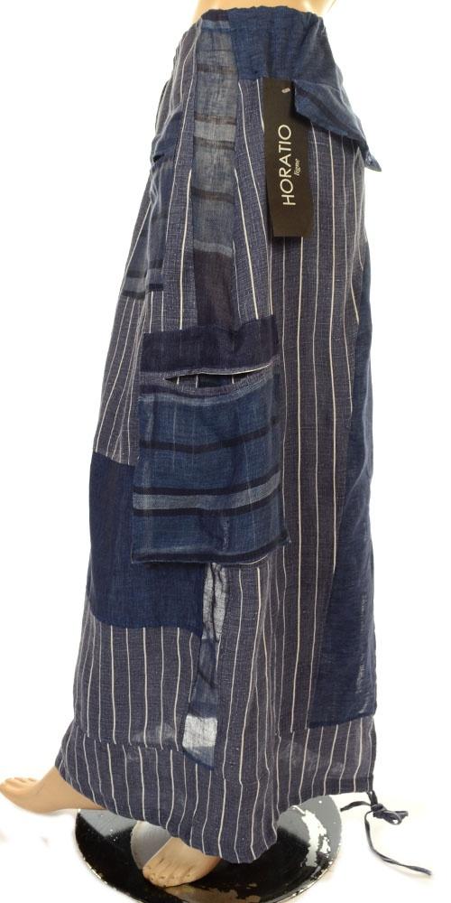 Horatio Funky Blue & White Stripe Linen Lagenlook Skirt-Horatio, lagenlook, womens plus size UK clothing, ladies plus size lagenlook fashion clothing,