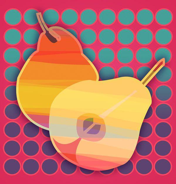Pears – POP ART by Julia Tomova.  http://design-milk.com/fresh-dairy-pop-art/