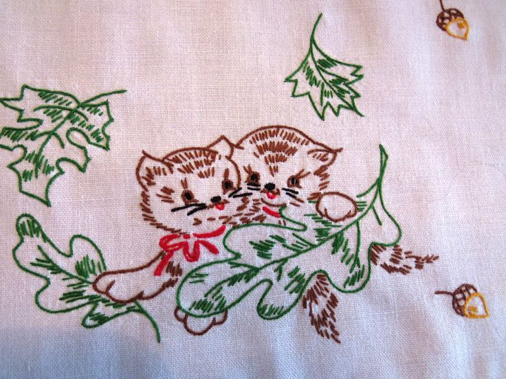 Hand Embroidered Kitten Dresser Scarf - Table Runner Table Scarf - Cats Maple Leaves Acorns - Vintage Table Linens - Fall Winter Decor Gift by shabbyshopgirls on Etsy