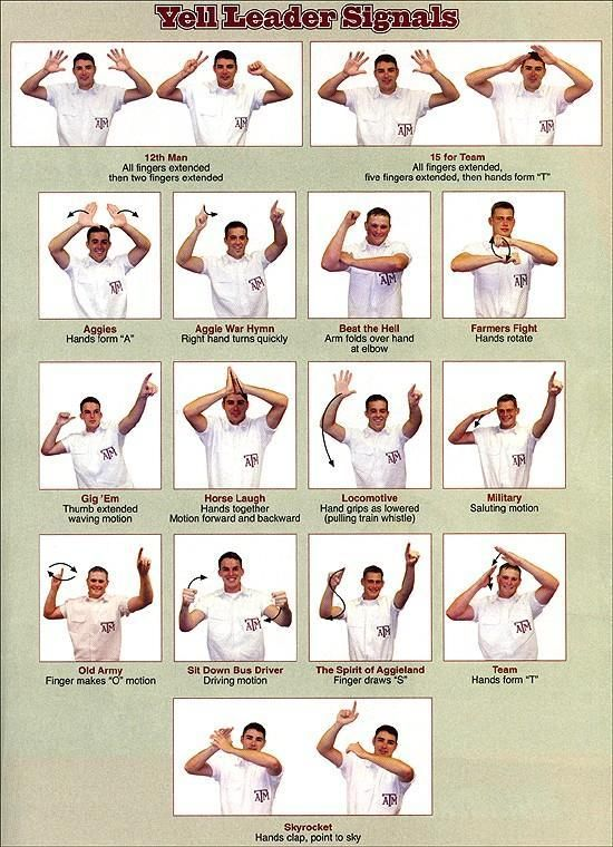 Pass it back, Ags! Aggie Yell Leader signals