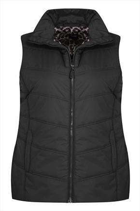 Black+Padded+Zip+Up+Gilet+With+Animal+Print+Lining+46042