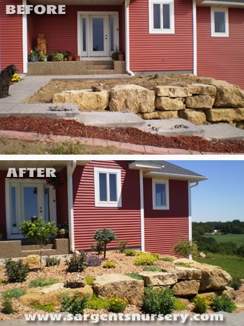 This client asked us to help with the plant choices for their decorative retaining walls. This planting will mature to a lovely combination of color, texture and visual interest! Designed and installed by Sargent's Nursery in Red Wing, MN