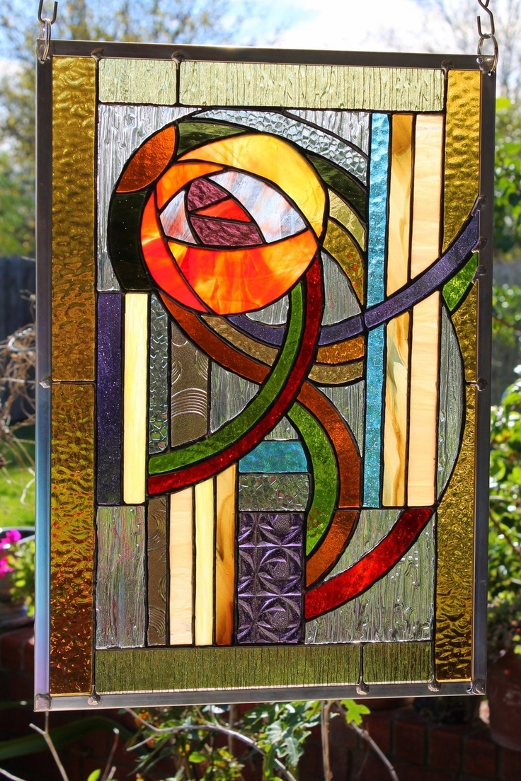 Beach theme decoration stained glass window panels arts crafts - Stained Glass Window Panel Metropolis Love This