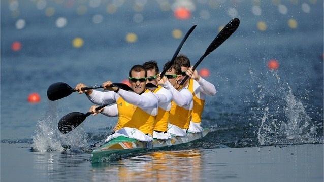 Australia compete in the men's Kayak Four (K4) 1000m Canoe Sprint Tate Smith, Dave Smith, Murray Stewart, and Jacob Clear of Australia compete in the men's Kayak Four (K4) 1000m Canoe Sprint on Day 13.