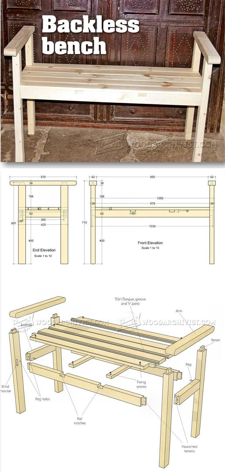 Backless Bench Plans - Furniture Plans and Projects   WoodArchivist.com