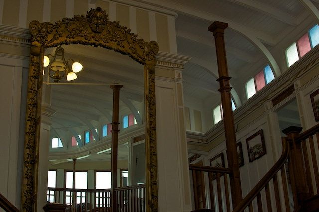View of the Grand stair case and gilt mirror (originally hung in the Incola Hotel, Penticton).   The SS Sicamous is a premier wedding venue and visitor attraction, located in Penticton BC. You can find the ship on the beach, beside Lake Okanagan.