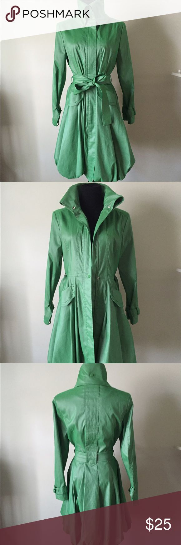 Long Green Trenchcoat Stylish raincoat with high neckline, cute belt. Great to wear when dressing up but need coverage from the rain or wind! D & Y Jackets & Coats Trench Coats