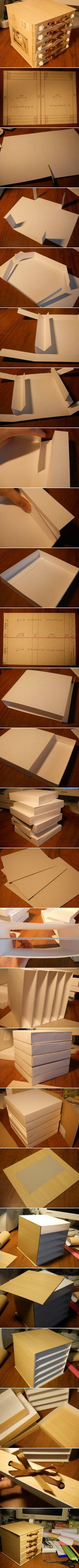 DIY Cute Cardboard Chest | box | mini comoda | faça você mesmo | porta joia
