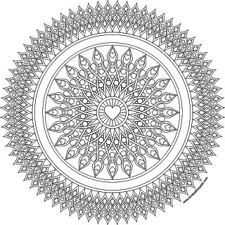 heart sights mandala coloring page in jpg and transparent png format