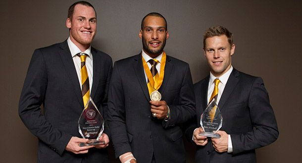 HAWTHORN defender Josh Gibson has been rewarded for his outstanding season with his first Club best and fairest on Saturday night, winning the Peter Crimmins Medal.  Gibson won with 178 votes, with Coleman Medal winner Jarryd Roughead the runner-up on 167 votes and four-time Peter Crimmins medallist Sam Mitchell in third with 157 votes.