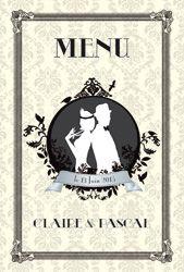 Menu de mariage rétro chic années 20 Gatsby - old style 20's wedding menu