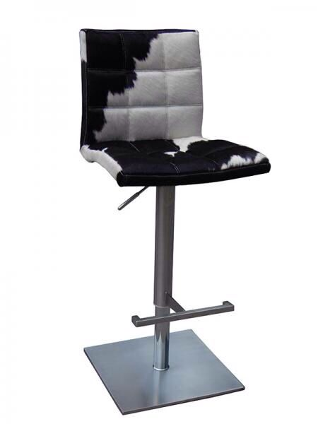 Deco 10 Bar Stool in Brushed Stainless Steel & Black and White Cowhide Leather