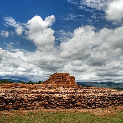 Ruins near the visitors' center at Pecos, NM, USA.