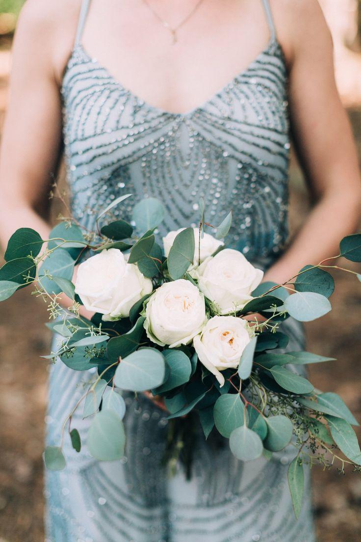 grey glitter bridesmaid dress seeded eucalyptus bouquet