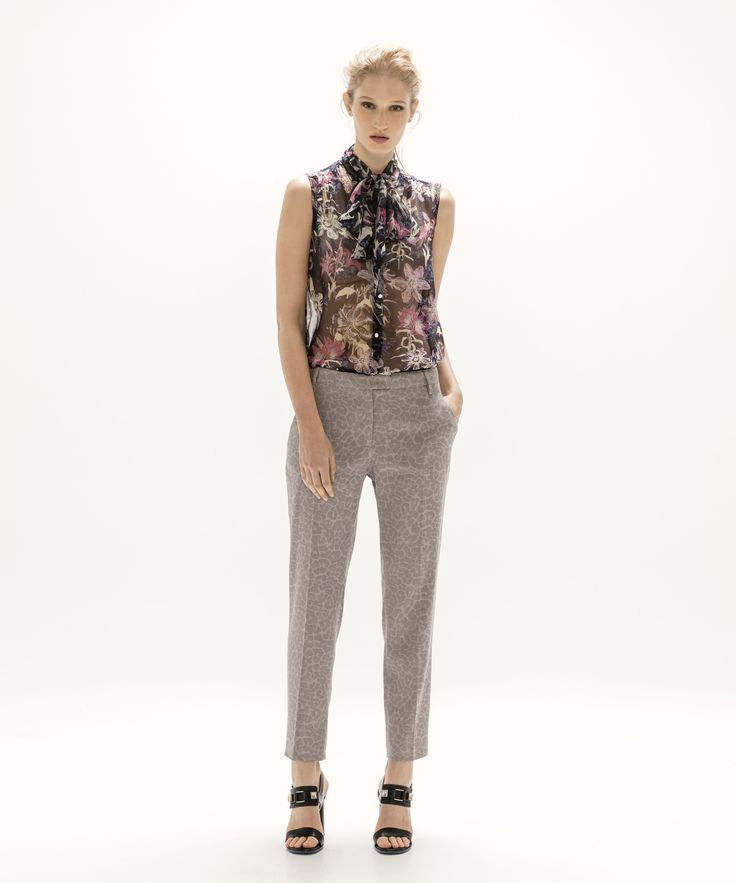 Jess Blouse- Black and Cropped Trouser - Grey