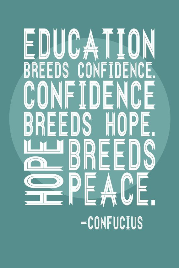 Education Quote Poster - Confucius. Posters for educators and teachers. Seafoam and white.