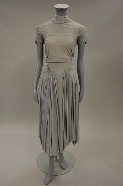 Stunning Madame Gres dove-grey silk jersey dress c, 1940's