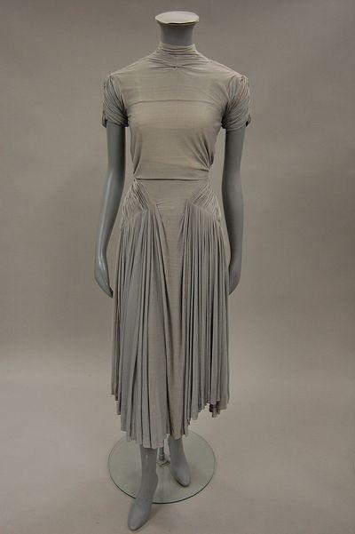 Stunning Madame Gres dove-grey silk jersey dress c, 1940's