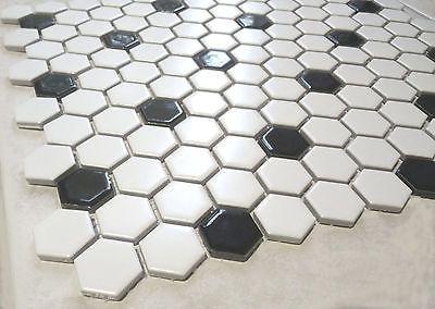 octagon sechseck mosaikfliesen weischwarz mattglnzend restposten 13 matten - Schwarzweimosaikfliese Backsplash