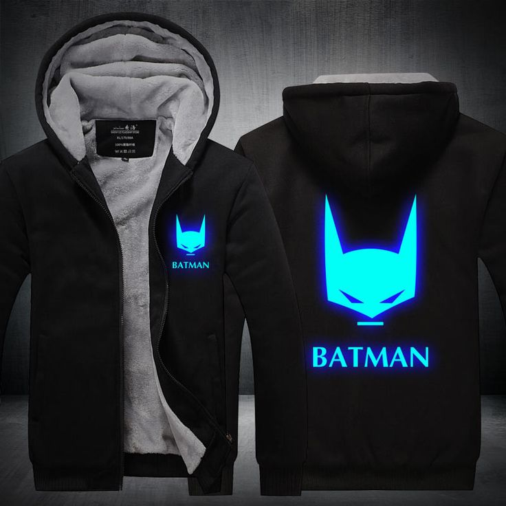 Winter New Jackets BATMAN hoodie Anime Luminous Men Hooded Thick Zipper Coats USA EU size Plus size