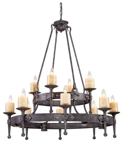 Elk Lighting 14006844 Cambridge Meval 12 Light Chandelier With Halogen Downlights